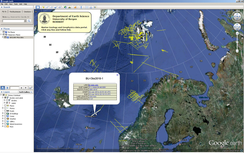 Google Earth with GEO marine geophysical datasets shown. Click to open KML file.