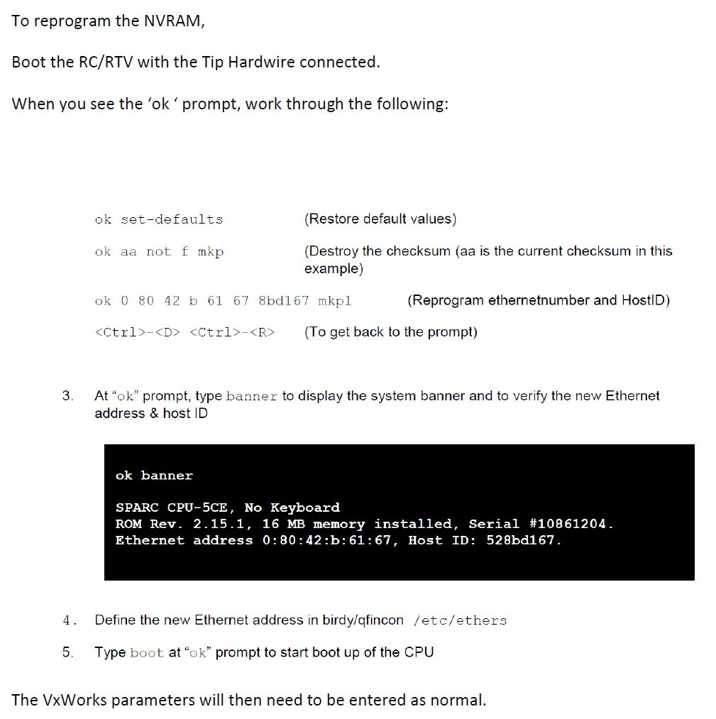 Prosedyre for å re-programmere NVRAM på CPU-kort i RTV-enheten.  Klikk for PDF versjon.