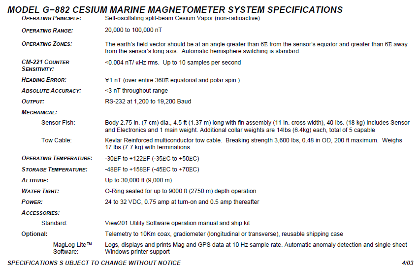Geometrics mod. G-882 Magnetometer specifications