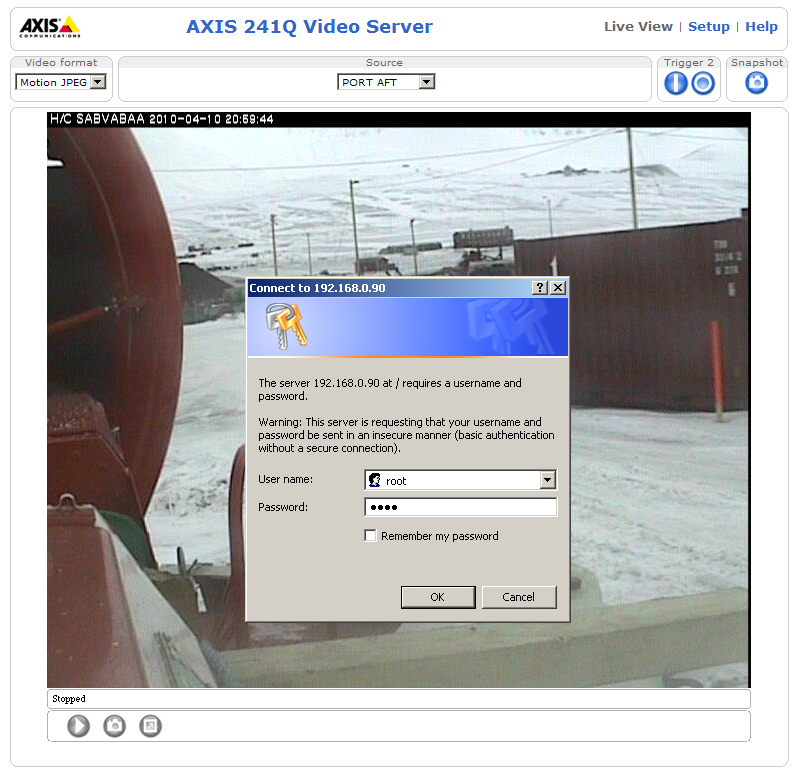 Login Axis mod. 241Q Video Server