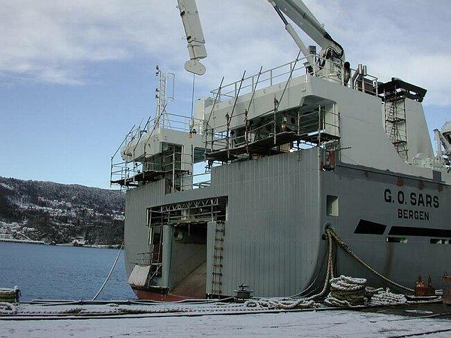 RV 'G.O. SARS' during construction at Flekkefjord Slipp og Maskinfabrikk, February 2003.