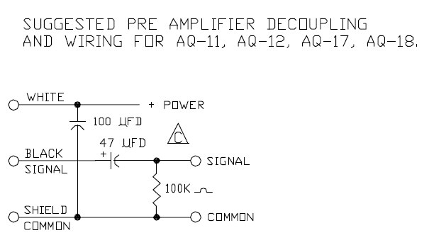 Recommended AQ-18 decoupling and wiring.