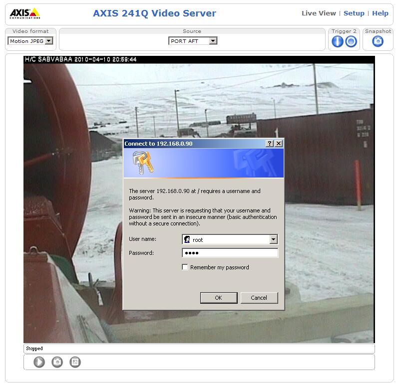 Login Axis mod. 241Q Video Server