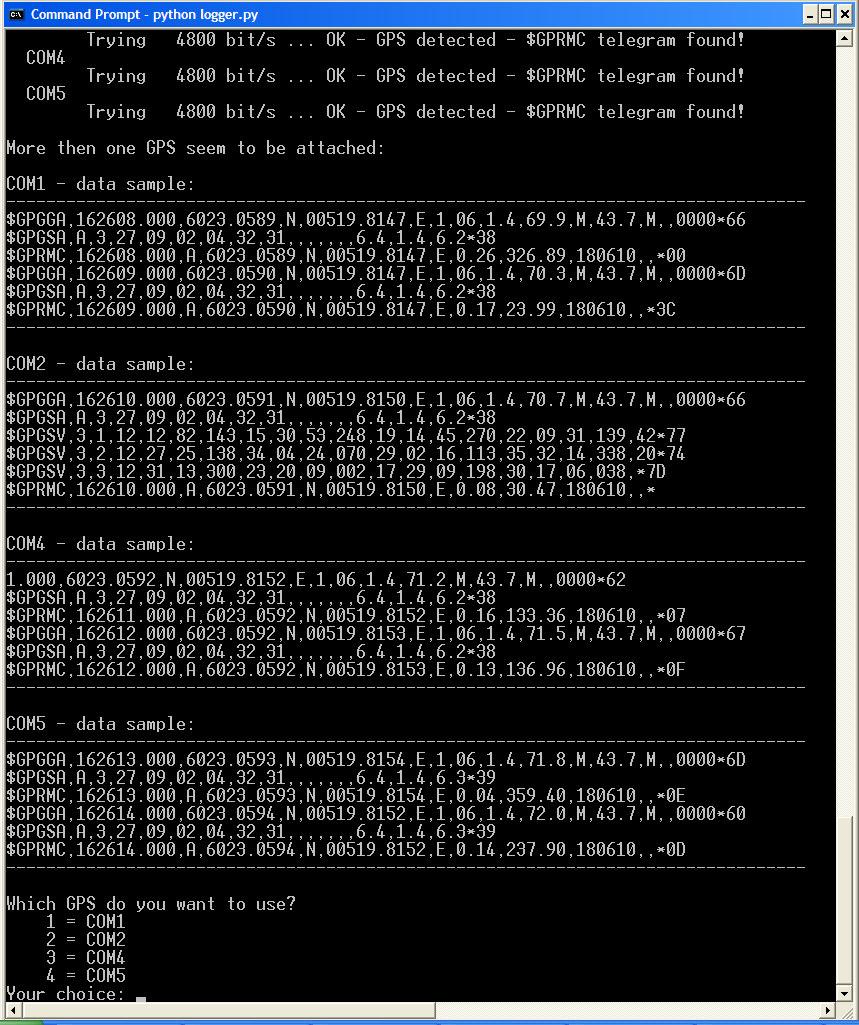 Running Nav data + Echo Sounder logging program