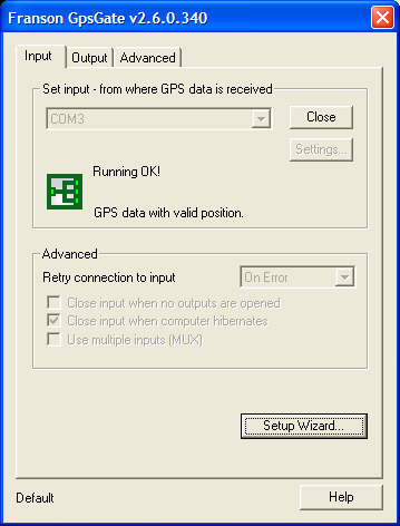 Normal view of GpsGate